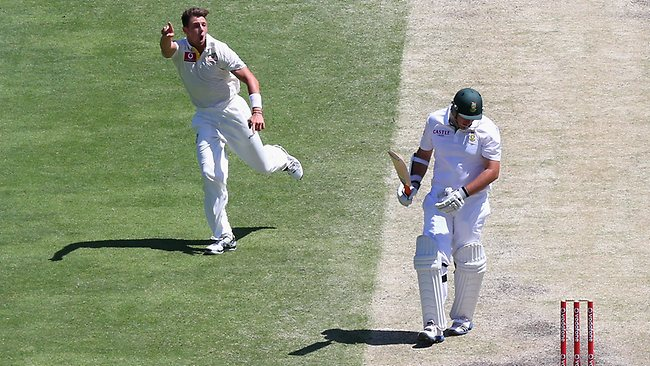 Pattinson shows Smith the way to the dressing rooms.
