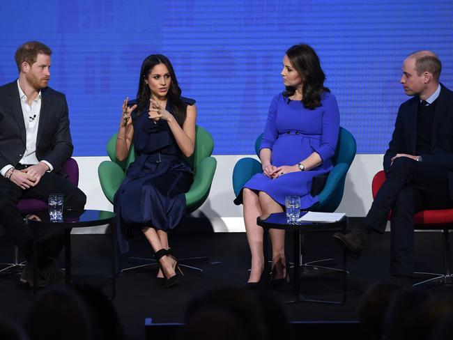 Prince Harry, Meghan Markle, Catherine, Duchess of Cambridge and Prince William, Duke of Cambridge at the Royal Foundation Forum. Picture: Getty