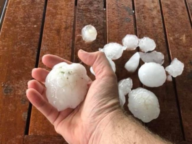 Golf ball-size hail was reported at Mount Tarampa. Picture: Channel 10