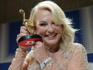 Kerri-Anne Kennerley pose for photographs with her Gold Logie for the TV Week Logie Hall of Fame during the 2017 Logie Awards at the Crown Casino in Melbourne, Sunday, May 8, 2016. (AAP Image/Tracey Nearmy) NO ARCHIVING