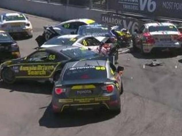 The car pileup at the Newscastle 500 Supercars event on Saturday.