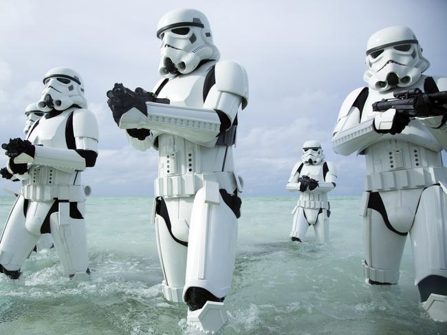 "Stormtroopers in a scene from film ""Rogue One: A Star Wars Story"". Picture: Lucasfilm Ltd."