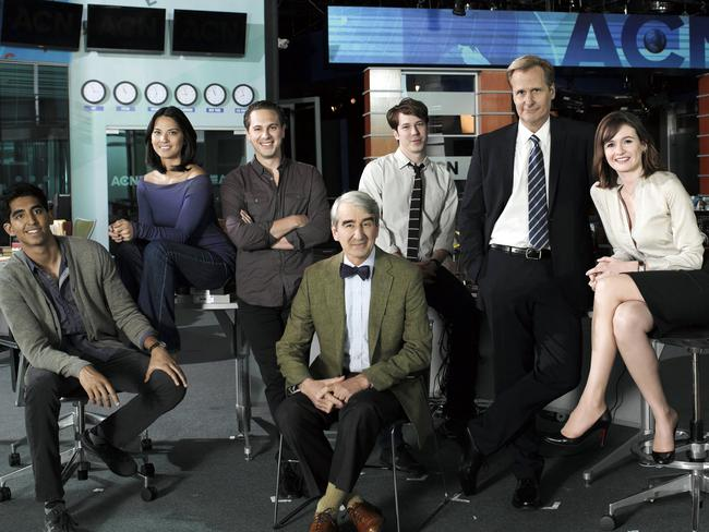Big break ... Olivia Munn, second from right, and the cast of The Newsroom. Picture: Supplied