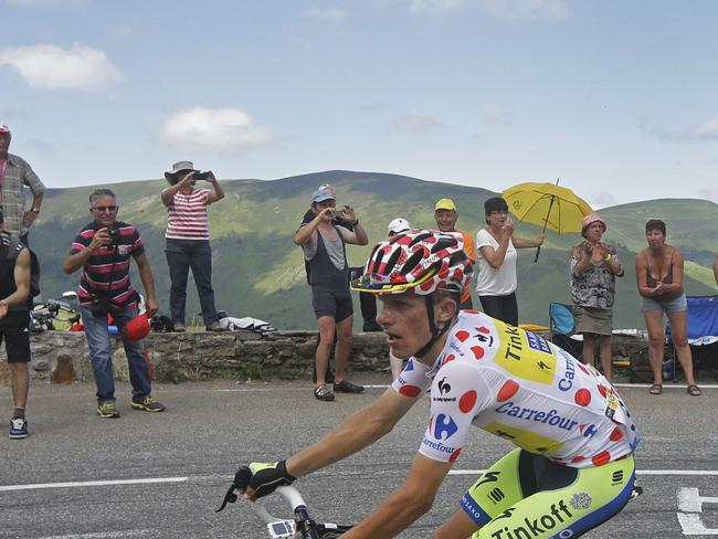 Rafal Majka, wearing the best climber's dotted jersey, climbs Val Louron Azet pass during the seventeenth stage of the Tour de France. Picture: Laurent Cipriani