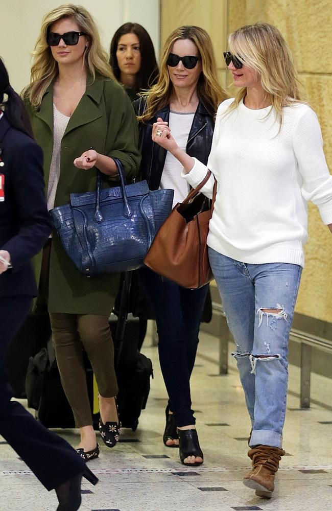 Cameron Diaz, Kate Upton and Leslie Mann pictured on arrival in Sydney. Source: Matrix Media Group