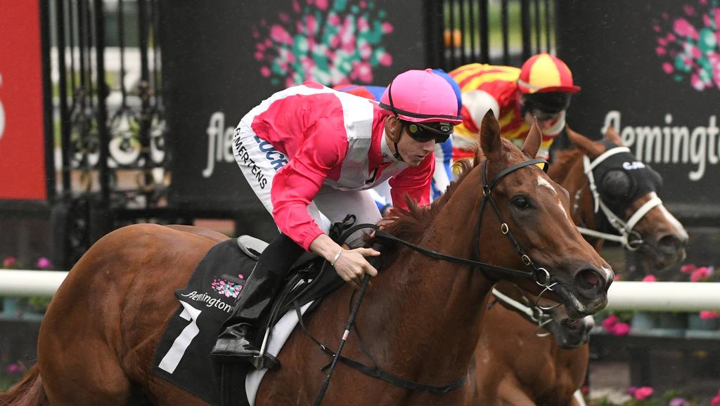 MELBOURNE, AUSTRALIA — MAY 06: Beau Mertens riding Divine Quality in Race 5, during Melbourne Racing at Flemington Racecourse on May 6, 2017 in Melbourne, Australia. (Photo by Vince Caligiuri/Getty Images)