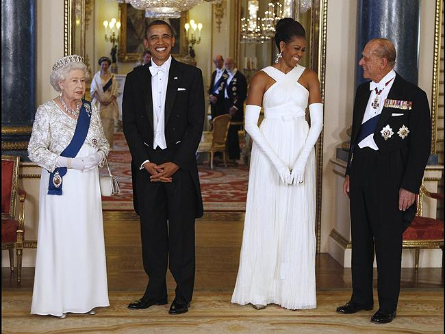 Queen with US Presidents: Queen Elizabeth and Prince Philip with President Barack Obama and First Lady Michelle Obama at Buckingham Palace in 2011. Photo: AP
