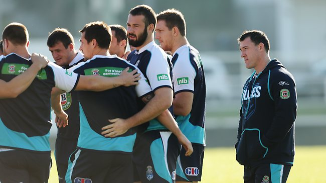Paul Gallen following his withdrawal from the Origin team at training. Picture: Costello Brett