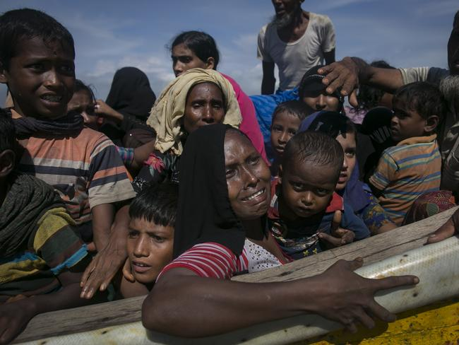 Rohingya are seen after arriving on a boat to Bangladesh on September 14, 2017 in Shah Porir Dip, Bangladesh. Picture: Allison Joyce/Getty Images