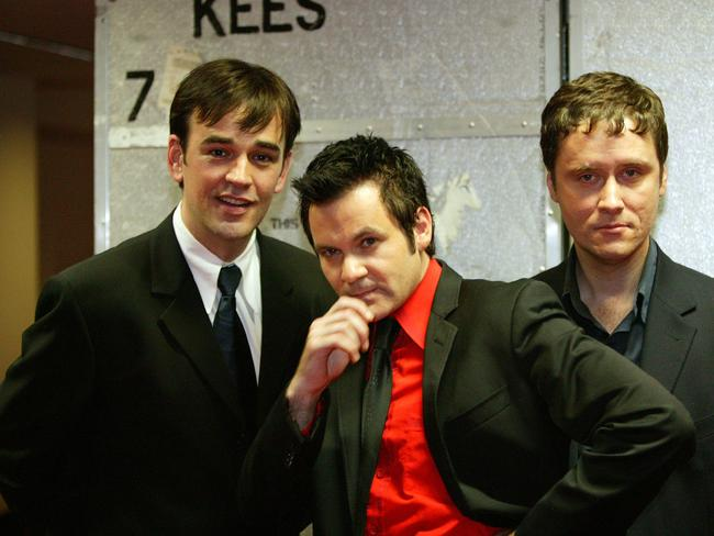 The original Doug Anthony Allstars, Tim Ferguson (left), Paul McDermott and Richard Fidler.