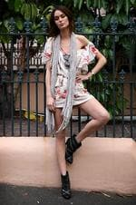 <p>Model Nicole Trunfio poses at Potts Point in Sydney. Picture: Tim Hunter</p>