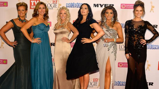 Real Housewives of Melbourne series one stars Chyka Keebaugh, Janet Roach, Lydia Schiavello, Gina Liano and Jackie Gillies at the Logies 2014 red carpet