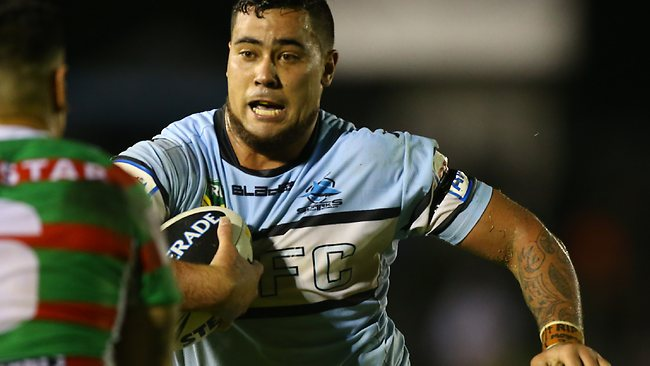 Andrew Fifita on the charge for the Sharks against the Rabbitohs. Picture: Mark Evans