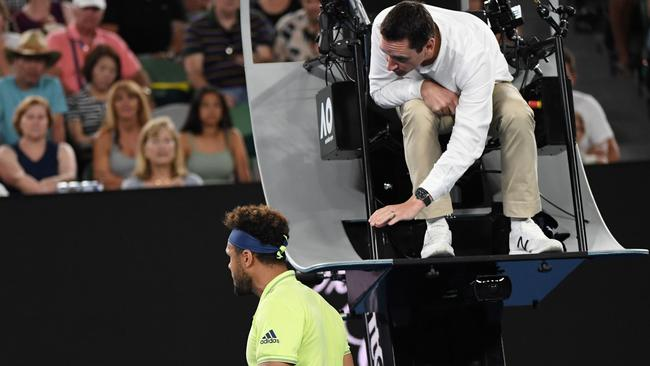 Jo-Wilfried Tsonga was issued with a code violation at the start of the fourth set.