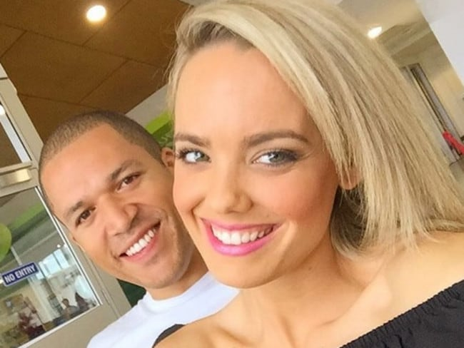 Former television The Bachelor Blake Garvey and Louise Pillidge in October 2015. Garvey ditched Sam Frost for Pillidge after proposing to Frost on the show. Picture: Supplied