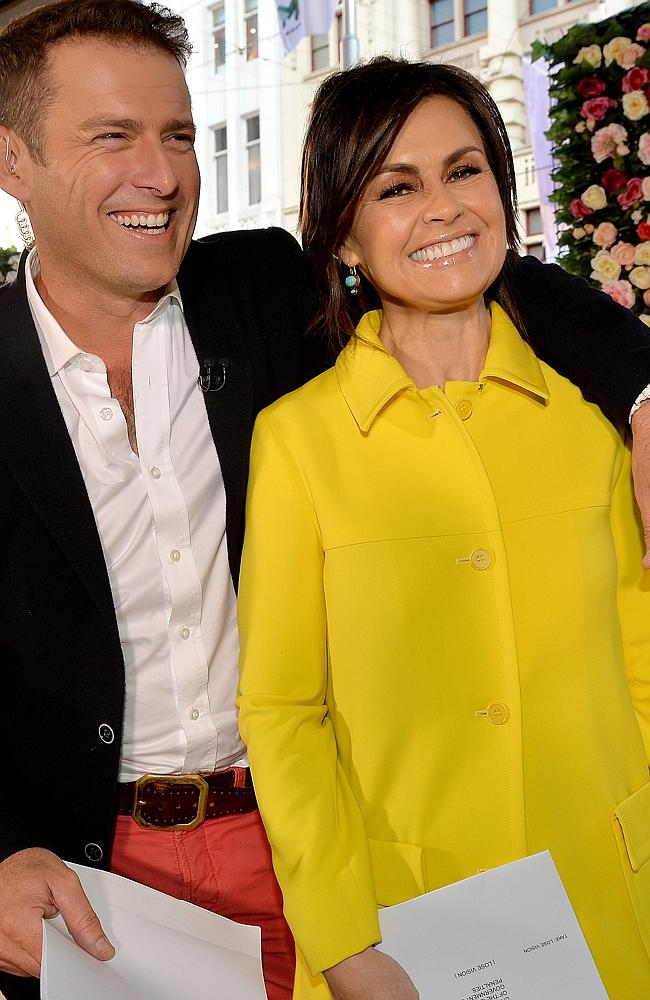 Karl Stefanovic and Lisa Wilkinson on set for the Today show, Channel 9. Pic. Nicole Garm