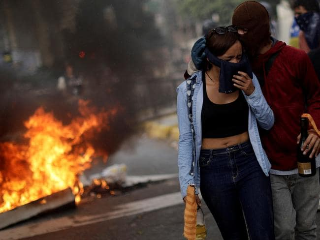 The Venezuelan capital Caracas has been rocked by deadly clashes between security forces and protesters rallying against president Nicolas Maduro. Picture: Reuters/Ueslei Marcelino
