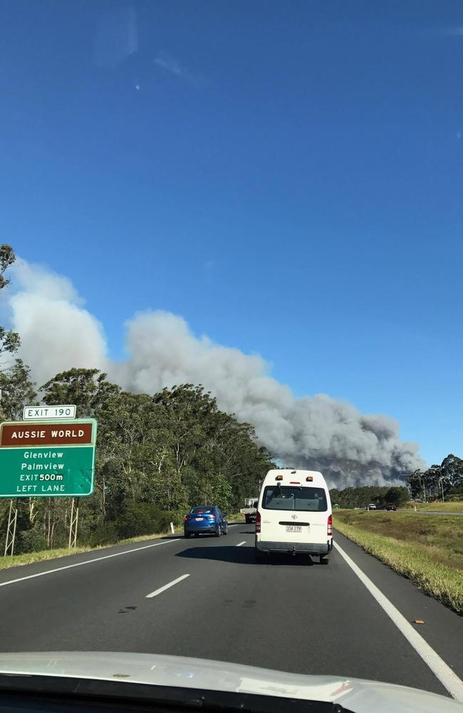 Grass fire on M1 north of Brisbane. Picture: David Taylor