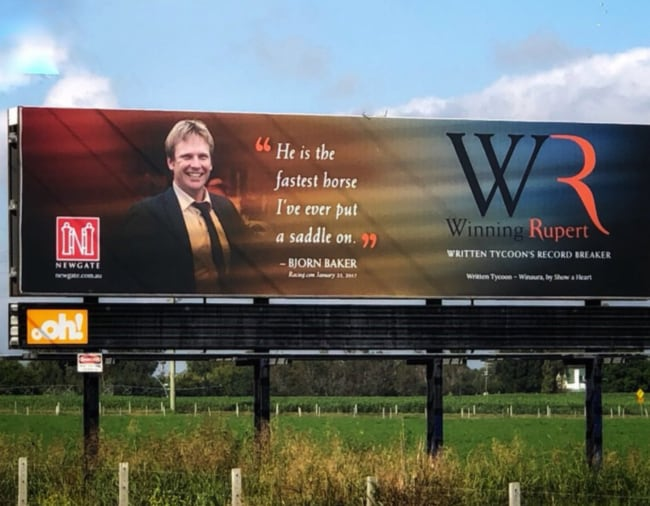 The billboard featuring trainer Bjorn Baker.