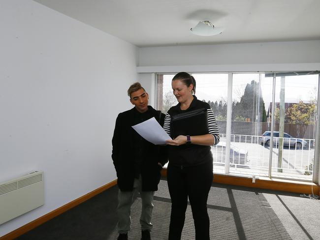 Rental Inspection: Real estate agent Krystle McGuinness pictured showing a prospective tenant through a property in Lenah Valley. Picture: MATT THOMPSON