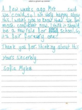 Sofia's letter, page 2.