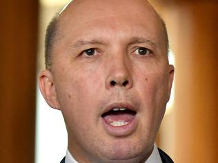 Minister for Immigration Peter Dutton at a press conference at Parliament House in Canberra, Thursday, October 19, 2017. (AAP Image/Mick Tsikas) NO ARCHIVING