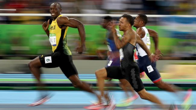 The Usain Bolt photo that is sending the internet crazy. Picture: Cameron Spencer/Getty Images