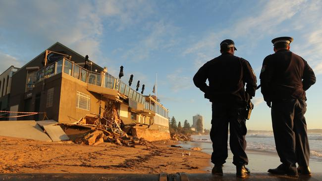 The Collaroy Beach Club at first light this morning was not a pretty sight. Picture: John Grainger