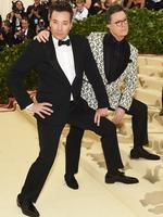 Jimmy Fallon and Stephen Colbert attend the Heavenly Bodies: Fashion and The Catholic Imagination Costume Institute Gala at The Metropolitan Museum of Art on May 7, 2018 in New York City. Picture: