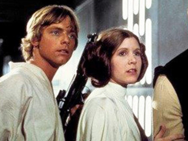 Mark Hamill as Luke Skywalker and Carrie Fisher as Princess Leia in the original 1977 Star Wars. Picture: Twentieth Century Fox Home Entertainment via AP