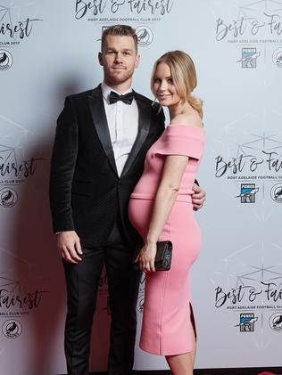 Robbie and Annabel Gray at Port Adelaide's Best and Fairest on Friday. Picture: Matt Loxton/AAP