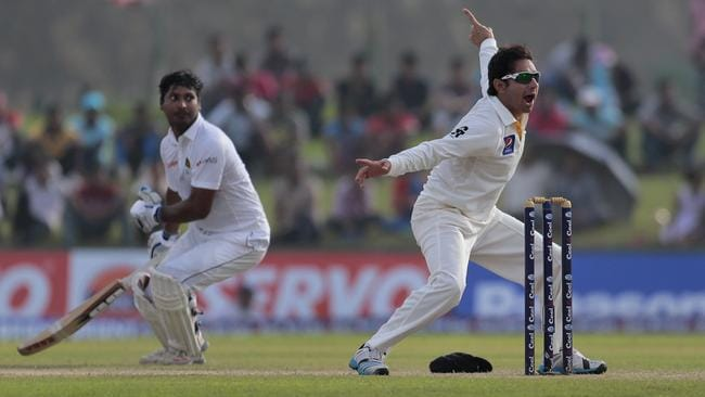Kumar Sangakkara survived this run out scare involving Pakistan's Saeed Ajmal.