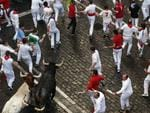Revelers run with Miura's ranch fighting bull during the running of the bulls of the San Fermin festival, in Pamplona, Spain, Monday, July 14, 2014. Revelers from around the world arrive in Pamplona every year to take part on some of the eight days of the running of the bulls. (AP Photo/Daniel Ochoa de Olza)
