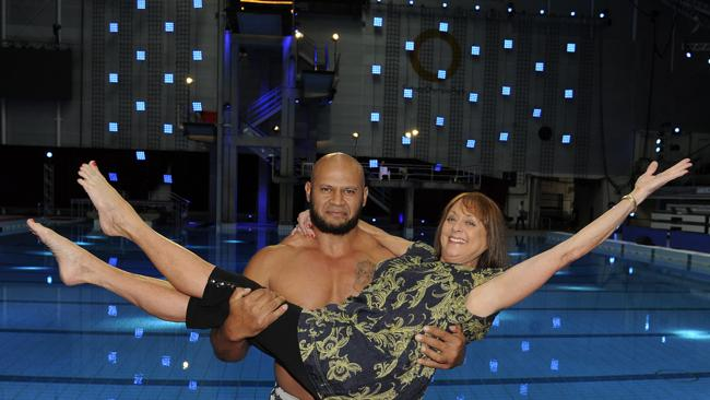 Denise Drysdale and Derek Boyer on the set of Celebrity Splash at Sydney Olympic Park Aquatic Centre.