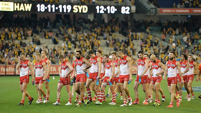Hawthorn v Sydney at the M.C.G., Sydney swans players after the loss. Picture: Salpigtidis George