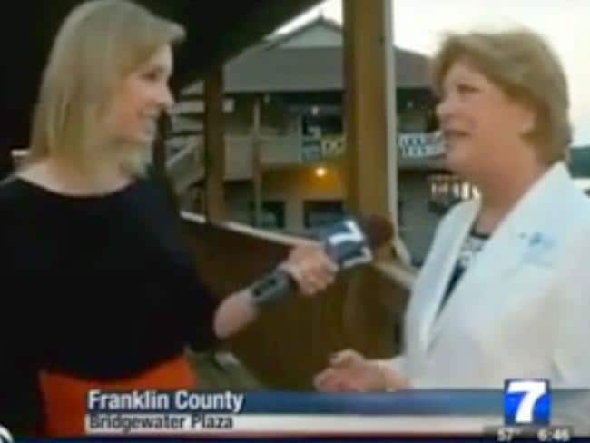 Live shooting ... Alison Parker interviewing Vicki Gardner moments before the shooting. Picture: AFP