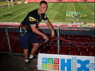 NRL Penrith Panthers forward Nathan Smith who works as an electrician at the team's home ground, Centrebet Stadium in Penrith Sydney. Picture: Brett Costello
