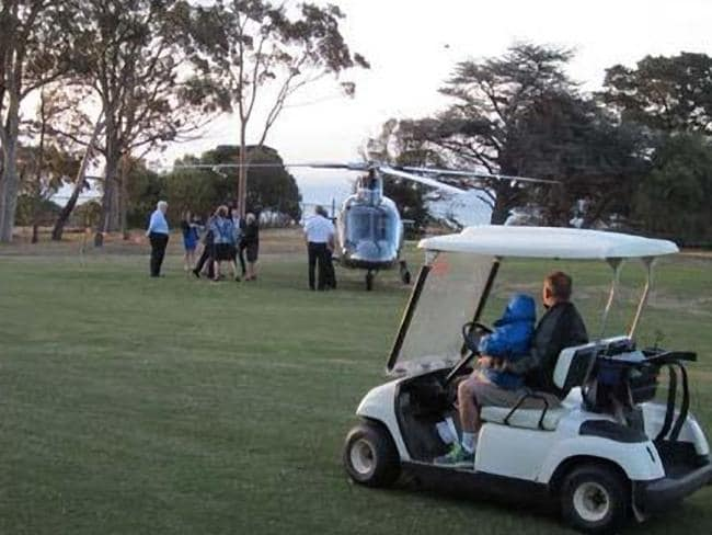 Choppered in ... Federal Speaker Bronwyn Bishop landing in a helicopter at a Geelong Golf Club in November 2014. Picture: Twitter