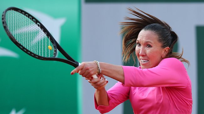 Jelena Jankovic of Serbia plays a backhand in her third-round win over Samantha Stosur of Australia at the French Open at Roland Garros. Picture: Julian Finney