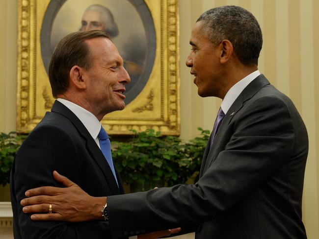 Warm greeting ... Tony Abbott meets with President Obama in the Oval Office.