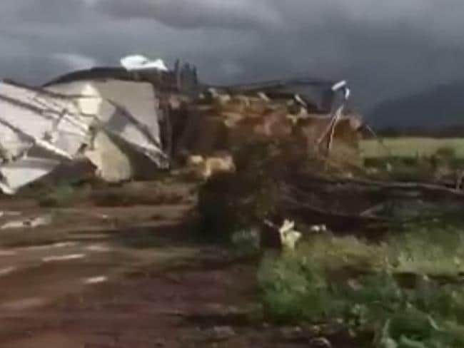 Destruction caused by a tornado that touched down near Melrose in SA. Picture: ABC