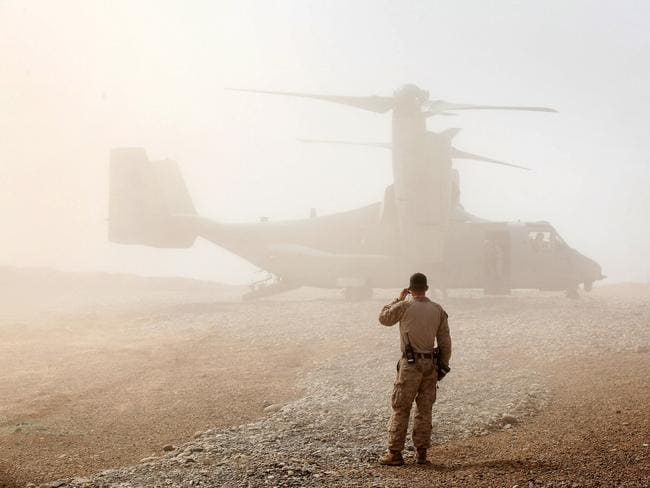 Empty-handed ... Despite the success of the attack, US Delta Force troops were unable to find the two US hostages. Here, A US Marine watches as an Osprey take off in Afghanistan. Source: Getty
