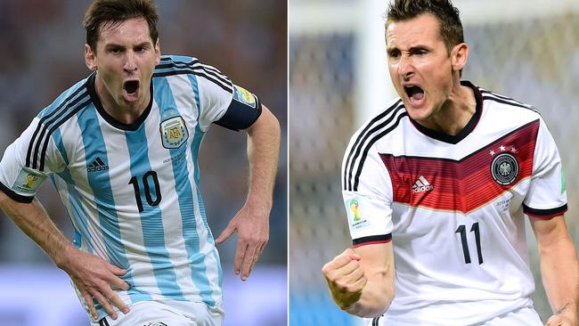 Argentina's Lionel Messi and Germany's Miroslav Klose were both hoping to score the decisive goal for their respective teams.