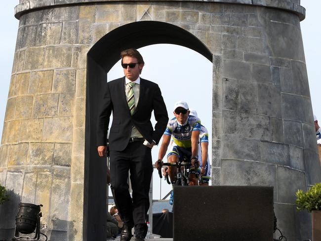 Re-instated team manager Matt White leads out Australia's Orica GreenEDGE team at the Tour de France team presentation.