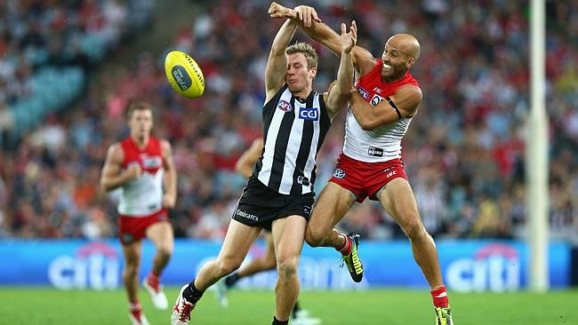 Ben Sinclair in action on Saturday night. The young Pie has injured a hamstring.