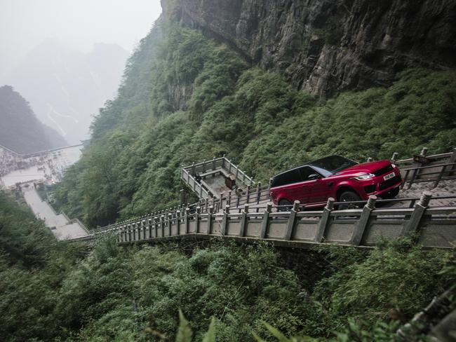 Range Rover P400e climbs Heaven's Gate in China. Picture: Land Rover