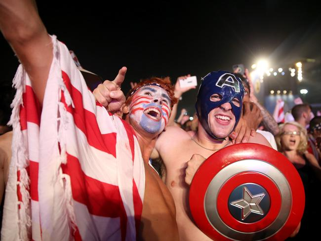 American fans love any excuse to strip down, suit up and cuddle..