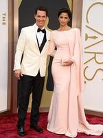 Matthew McConaughey and Camila Alveson the red carpet at the Oscars 2014. Picture: AP