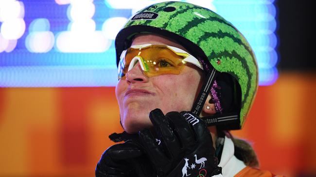 Samantha Wells of Australia reacts during the Freestyle Skiing Ladies' Aerials Qualification on day six of the PyeongChang 2018 Winter Olympic Games. Picture: David Ramos/Getty Images