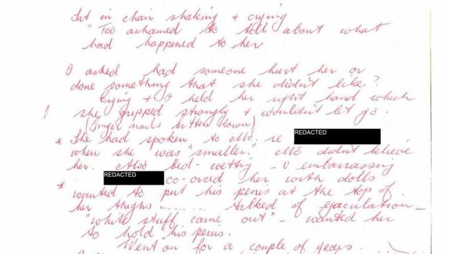 Note by teacher Faye Chandley about Julie Stewart confessing that Searson had sexually molested her during confession.